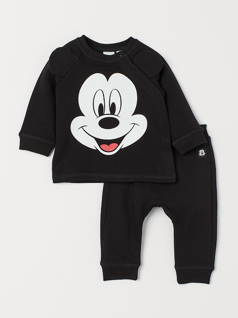 H&M Kids Black & White Printed Sweatshirt and Joggers