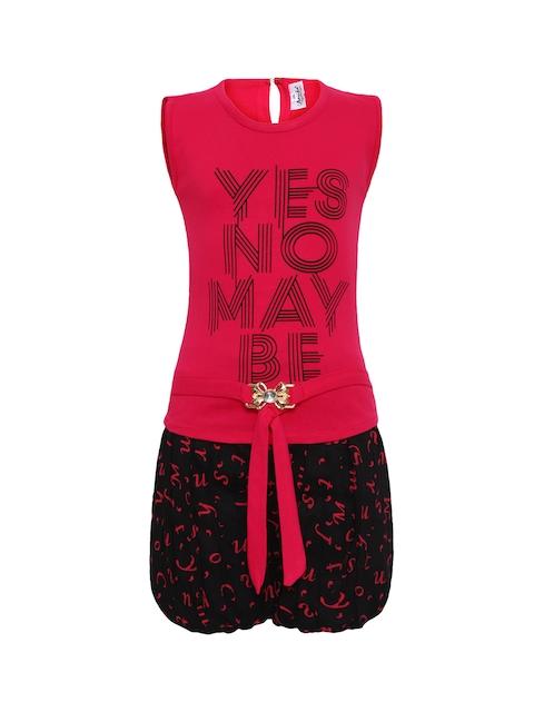 Aarika Girls Pink & Black Printed Top with Shorts