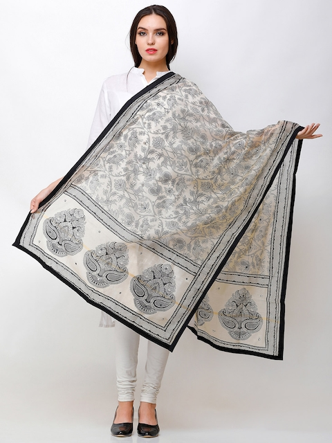 Aksara Beige & Black Printed Mirror Work Dupatta