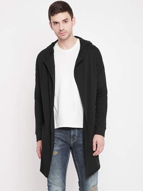 PUNK Men Black Solid Hooded Longline Shrug