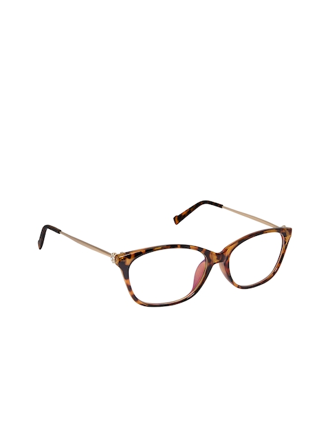 Cardon Unisex Brown & Mustard Yellow Tortoise Shell Full Rim Cateye Frames NEWCD1304