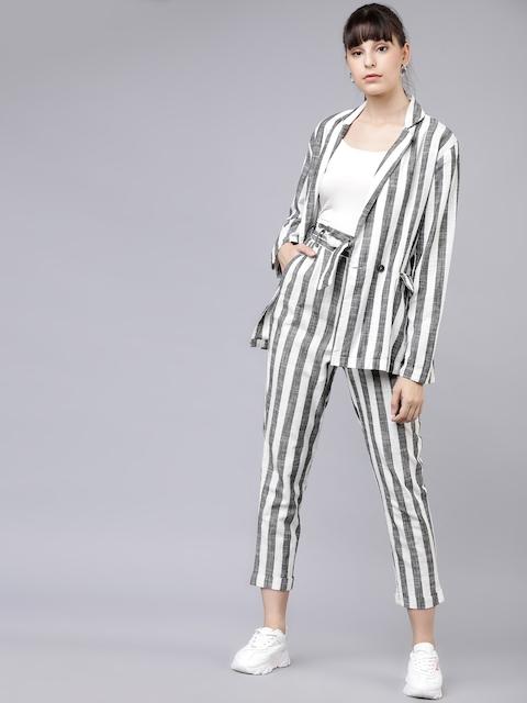 Tokyo Talkies Women Off-White & Black Striped Blazer with Trousers