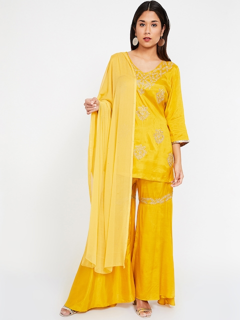 Melange by Lifestyle Women Mustard Yellow Solid Dupatta