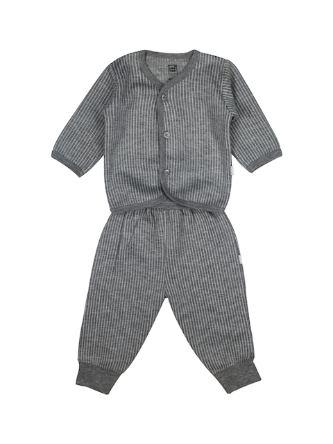 MeeMee Unisex Charcoal Grey Striped Shirt with Joggers