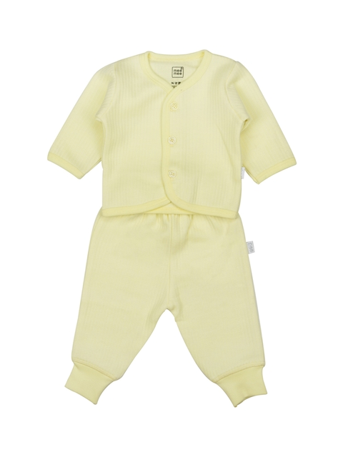 MeeMee Unisex Yellow Self-Striped Shirt with Joggers