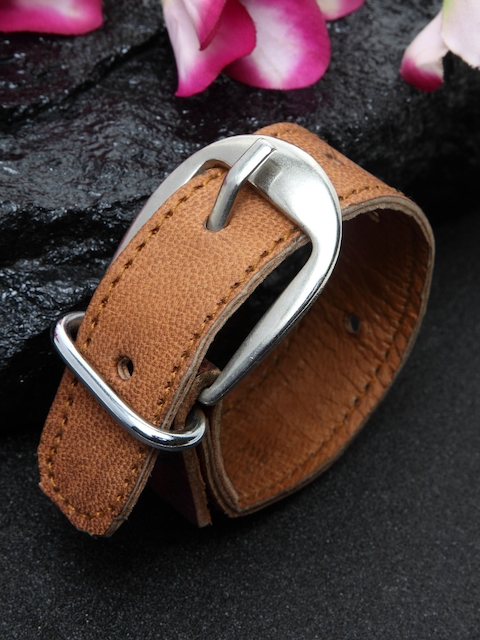 DUGRISTYLE Men Brown Leather Wraparound Bracelet