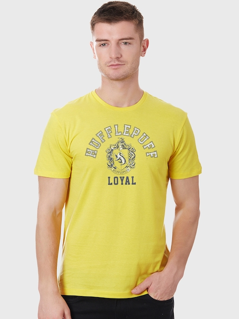 Harry Potter Men Yellow Printed Round Neck T-shirt