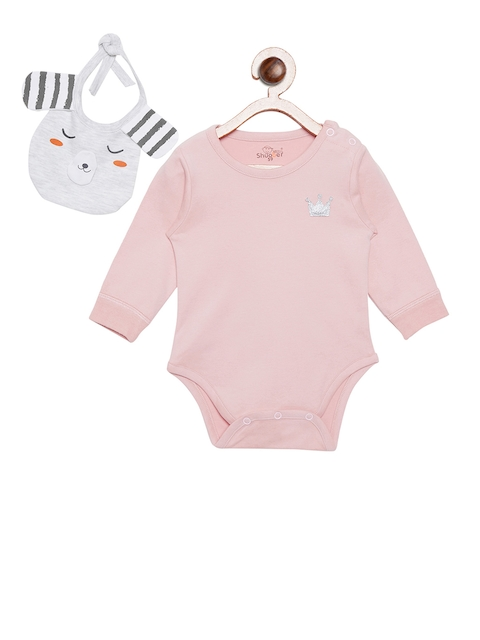 Camey Kids Pink Solid Bodysuit With Bib