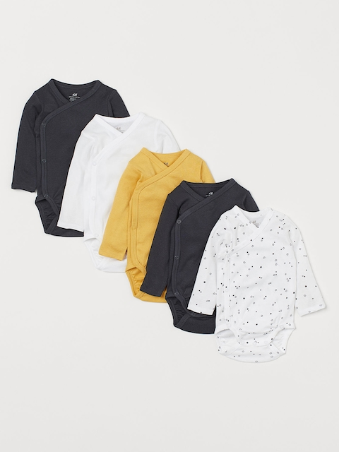 H&M Kids Solid 5-Pack Wrapover Bodysuits
