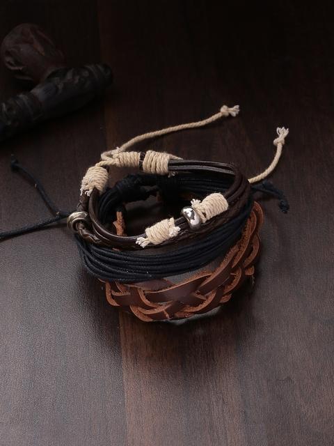 Dare by Voylla Men Brown & Black Leather Handcrafted Wraparound Bracelet