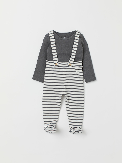H&M Girls Grey & White Solid Bodysuit And Dungarees