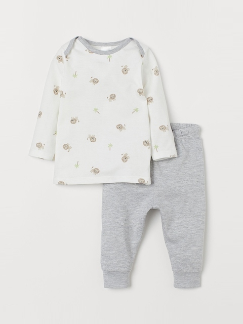 H&M Unisex White Printed Top And Leggings