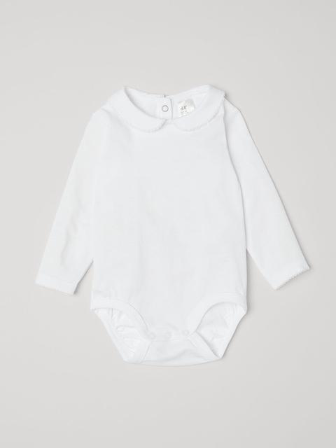 H&M Boys White Bodysuit With A Collar