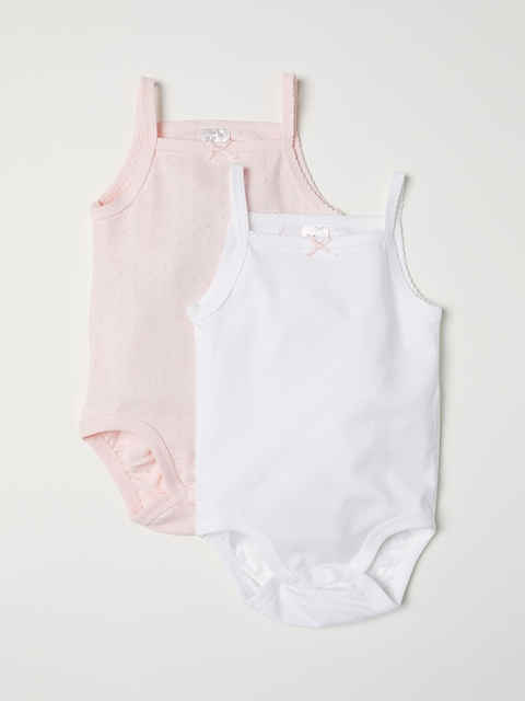 H&M Boys Pink Solid 2-Pack Rompers