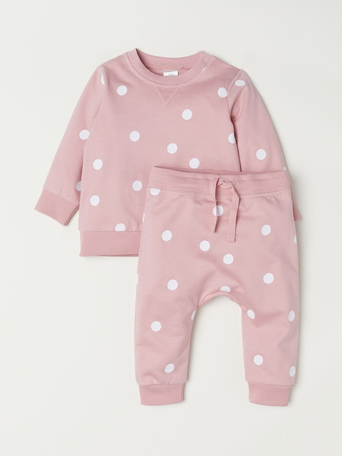 H&M Unisex Pink Printed Sweatshirt And Trousers
