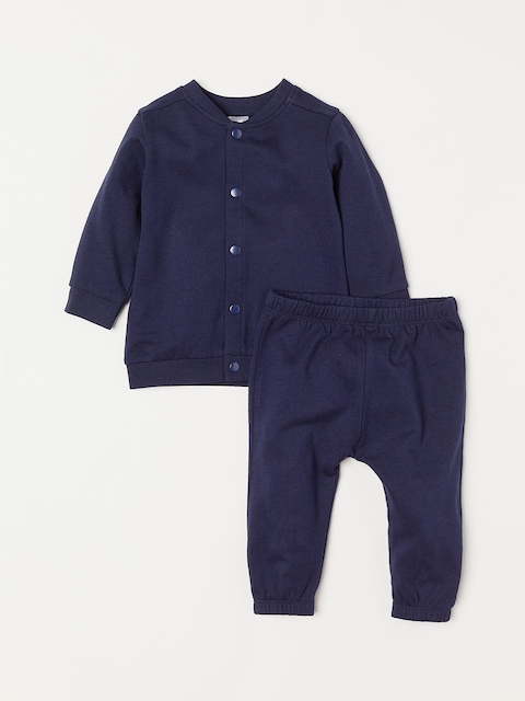 H&M Girls Blue Solid Cardigan And Trousers