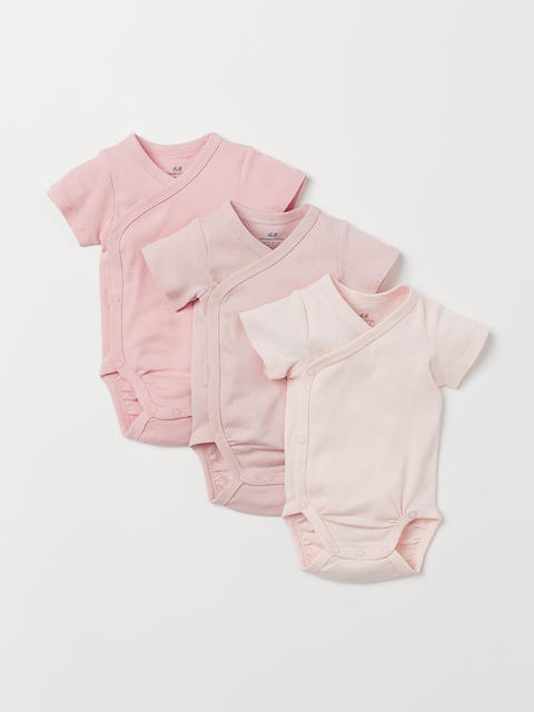 H&M Kids Solid 3-Pack Wrapover Bodysuits