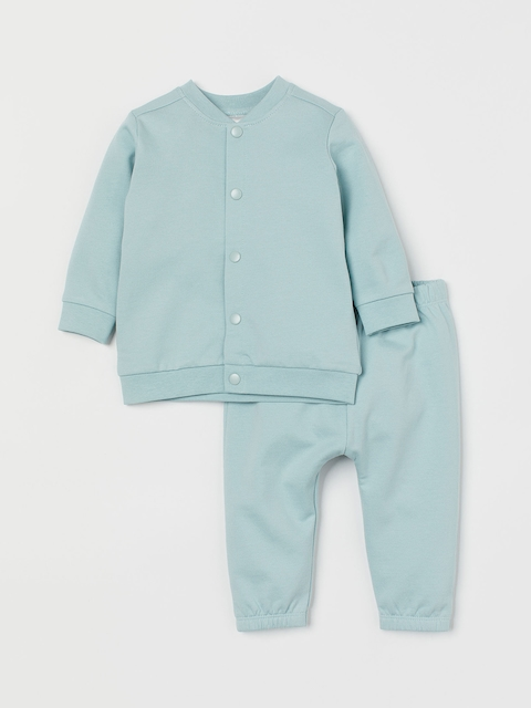 H&M Girls Turquoise Blue Solid Cardigan And Trousers