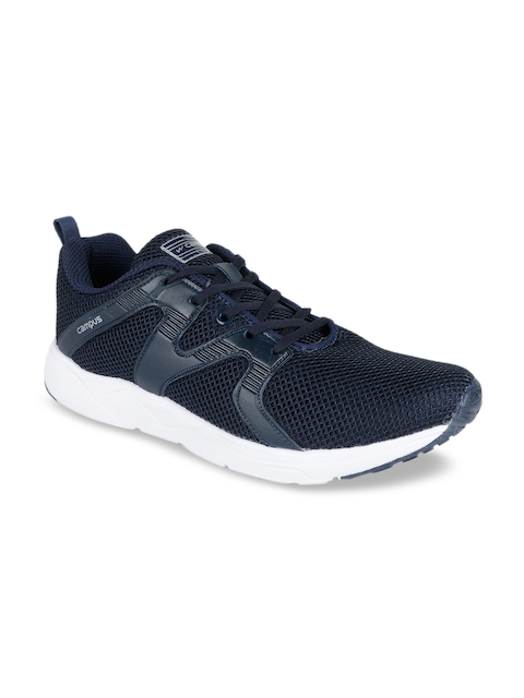 Campus Men Navy Blue & Silver-Toned Mesh Running Shoes