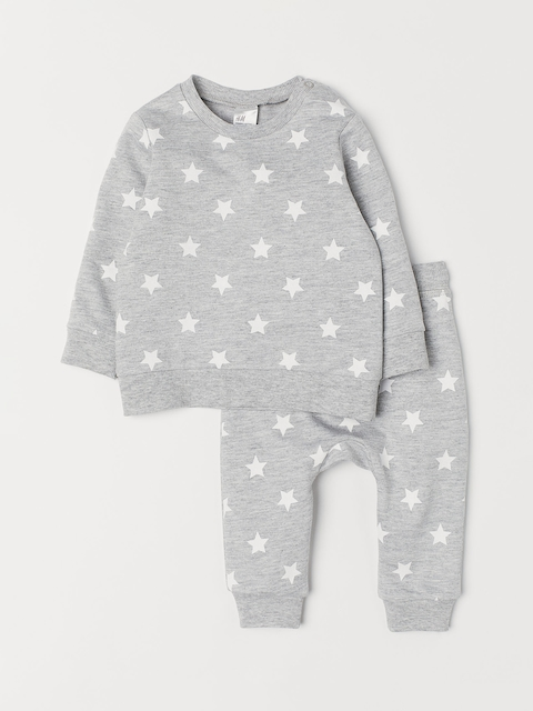 H&M Unisex Grey Printed Sweatshirt And Trousers