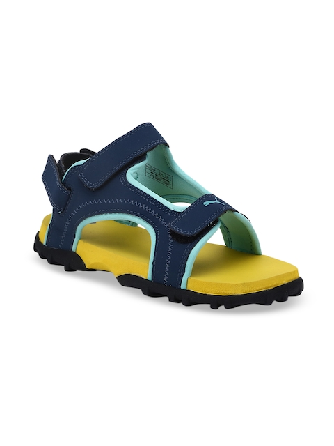 Puma Kids Navy Blue & Yellow Bambi PS IDP Sports Sandals