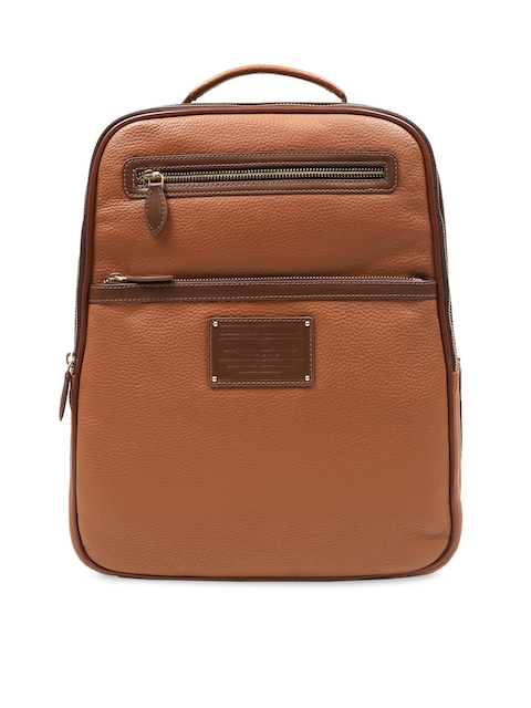 Da Milano Unisex Brown Solid Leather Backpack