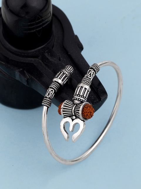Dare by Voylla Men Silver-Plated Oxidised Kada Bracelet