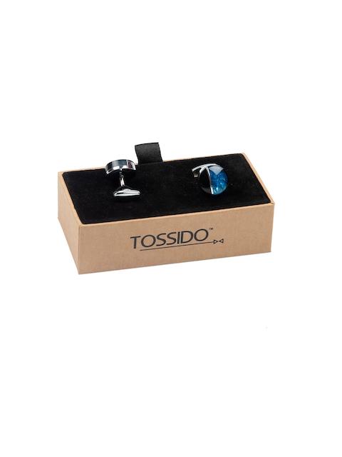 Tossido Blue Round Cufflinks