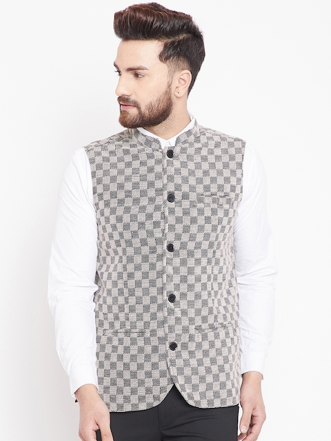 even Men Beige & Black Checked Nehru Jacket