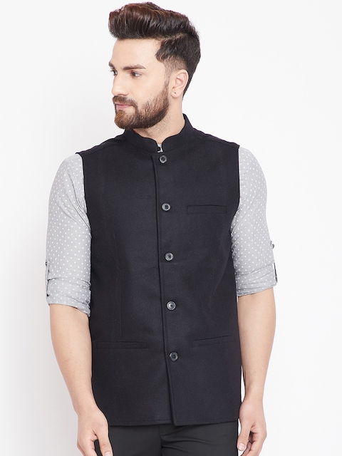 even Men Black Solid Woven Nehru Jacket