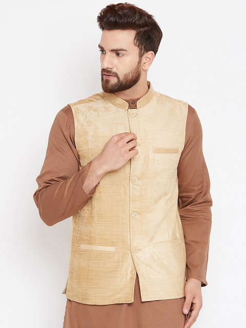 even Men Beige Solid Woven Nehru Jacket