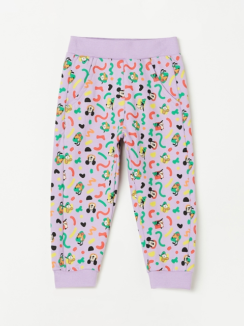 Juniors by Lifestyle Girls Purple Printed Trackpants