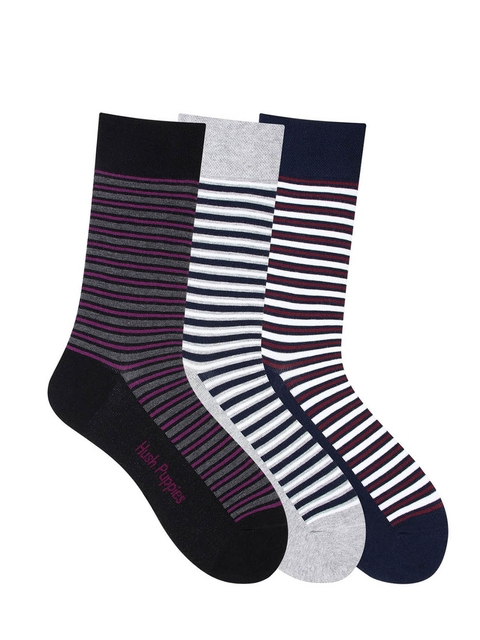 Hush Puppies Men Pack of 3 Assorted Striped Calf Length