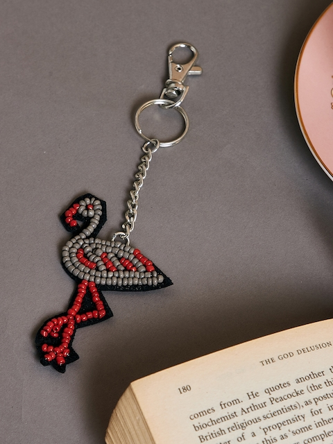 The Wishing Chair Unisex Black & Red Flamingo Shaped Key Chain