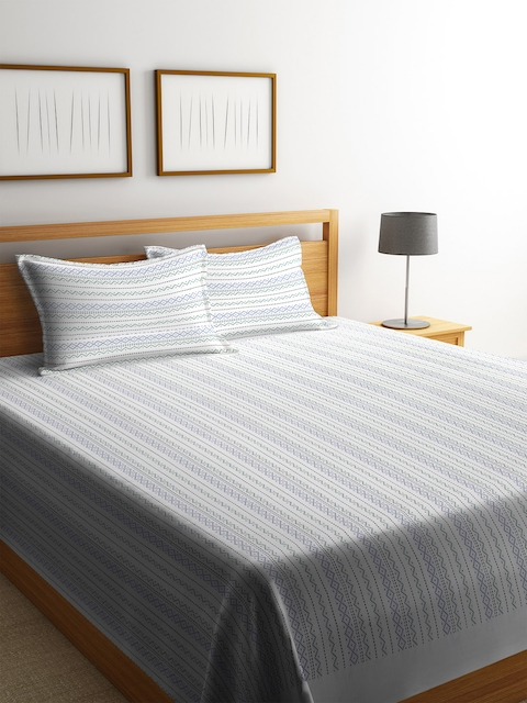 NEUDIS White & Blue Striped Double Bed Cover with 2 Pillow Covers