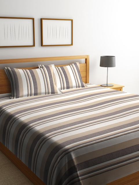 NEUDIS Grey & Brown Striped 250-349 TC Double Bed Cover with 2 Pillow Covers
