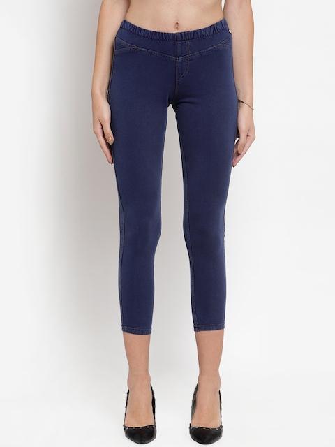 Purple State Women Blue 3/4th Slim Fit Treggings