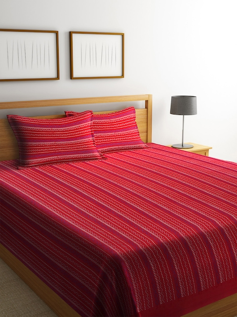 NEUDIS Red & Blue Striped 250-349 TC Double Bed Cover with 2 Pillow Covers