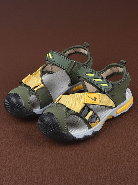Walktrendy Kids Olive Green & Yellow Colourblocked Sports Sandals