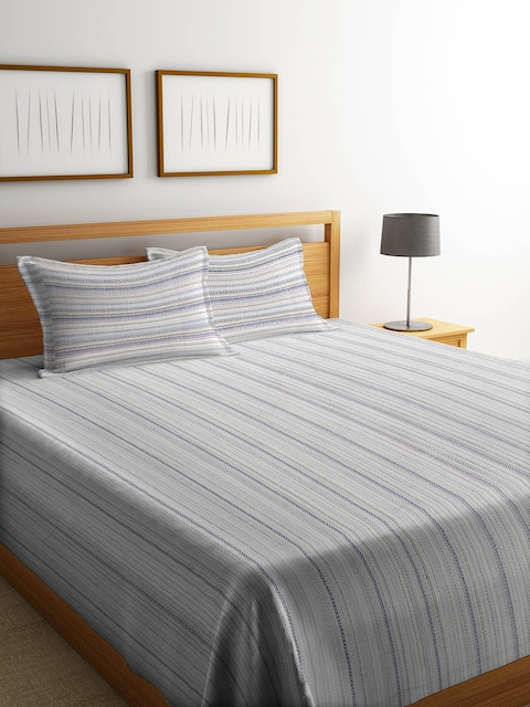 NEUDIS Grey & Blue Striped Double Bed Cover with 2 Pillow Covers