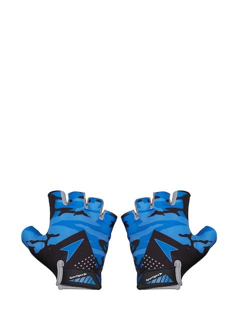 Sportigoo Unisex Grey & Blue Sportigoo Camouflage Printed Gym Gloves