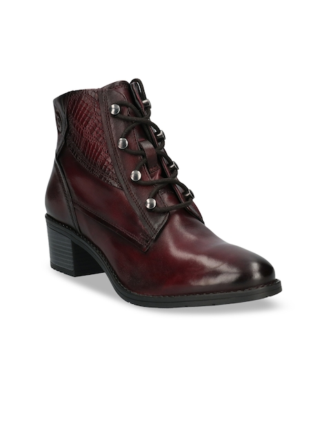 Bugatti Women Brown Leather High Top Formal Boots