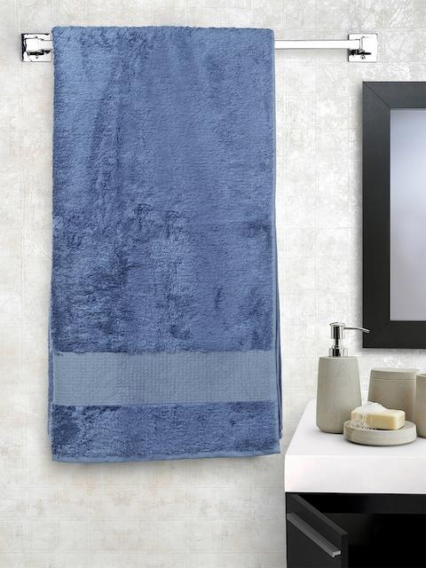 Portico New York Unisex Blue Solid 350 GSM Bath Towel