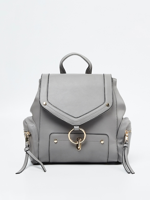 Ginger by Lifestyle Women Grey Solid Backpack