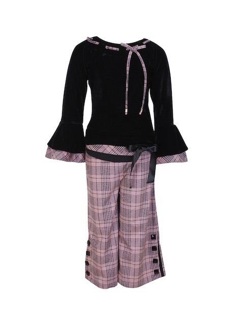 CUTECUMBER Girls Black & Mauve Solid Top with Trousers