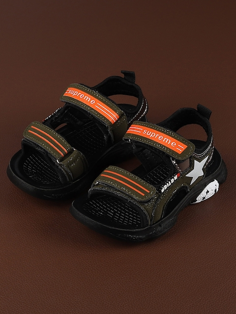 Walktrendy Kids Olive Green & Orange Sports Sandals