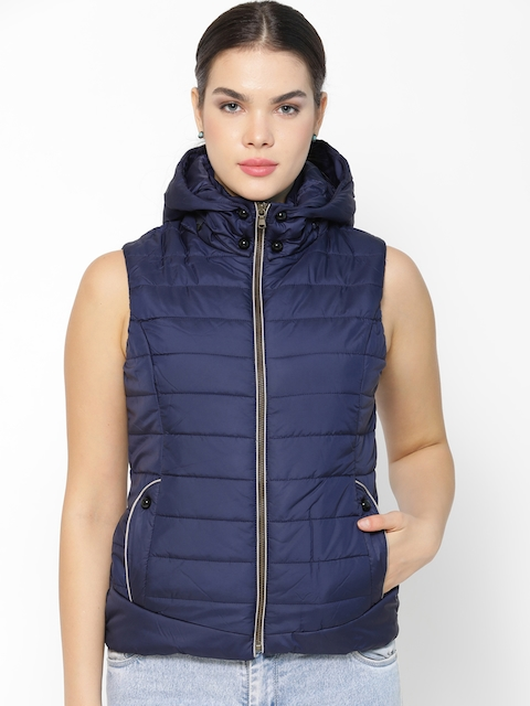 Gipsy Women Navy Blue Solid Padded Jacket