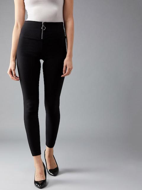 DOLCE CRUDO Women Black Solid Slim-Fit Treggings