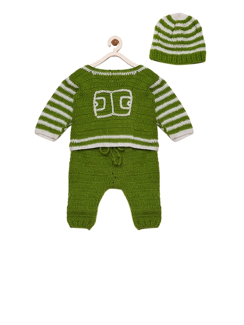 CHUTPUT Unisex Green Self Design Woolen T-shirt with Trousers and Beanie
