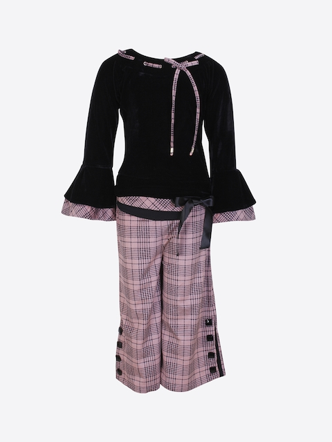 CUTECUMBER Girls Black & Pink Solid Top with Checked Culottes